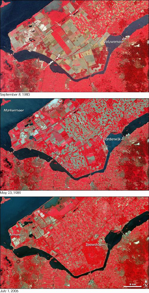 NASA image of land reclamation in NL