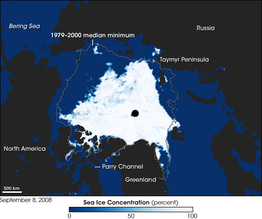 Arctic sea ice, Sept 8, 2008 (From NASA EO).