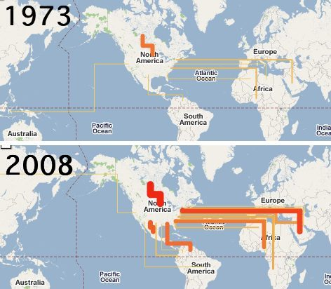 Oil flows into USA in 1973 and 2008